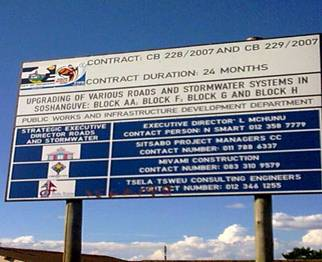 Site Board for City of Tshwane projects