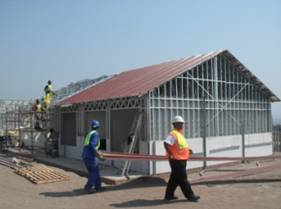 Installation of roof insulation and sheeting on the Administration Block at Catherine Booth